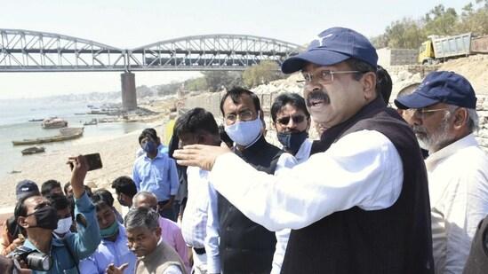 Union Petroleum Minister Dharmendra Pradhan visits Khidkiya Ghat in Varanasi, Saturday.(PTI)