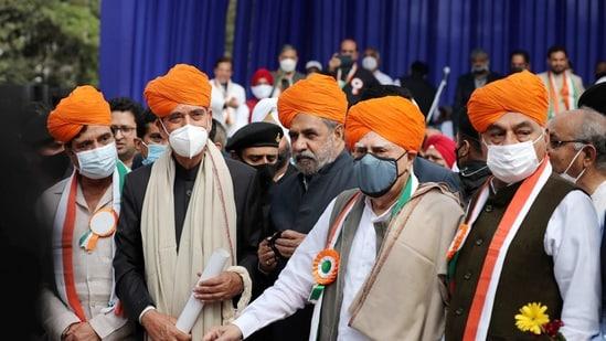 Jammu: Congress leaders Ghulam Nabi Azad, Anand Sharma, Kapil Sibal, Bhupinder Singh Hooda and Raj Babbar during a 'Shanti Sammelan' event in Jammu on Saturday.(PTI)