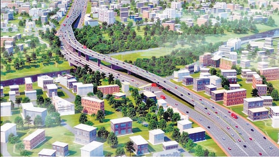 An artist's rendering of the proposed flyover in Katraj. (HT )