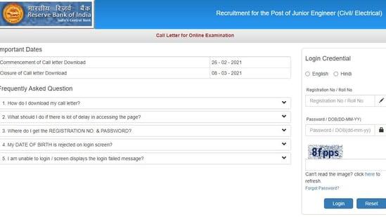 RBI JE admit card 2021.(Screengrab )