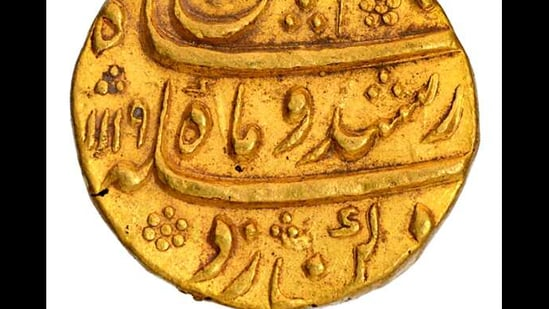 A rare 10.9 gram gold coin of Kam Bakhsh, the fifth son of Mughal emperor Aurangazeb, went for auction at Marudhar Arts, a leading numismatic auction house, on Saturday, Feb. 27, 2021.(PTI)
