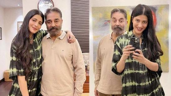 Shruti Haasan with Kamal Haasan.
