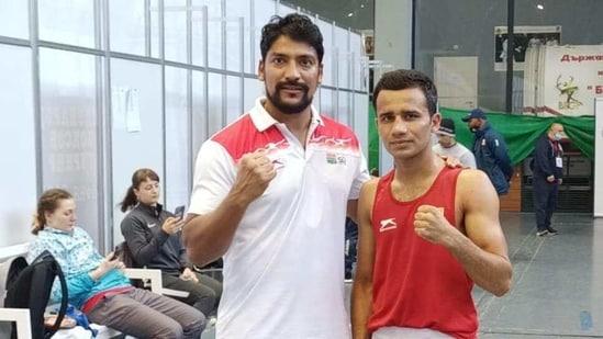 Deepak Kumar with national coach Jai Patil at Strandja Memorial, Sofia.(Special Arrangement)