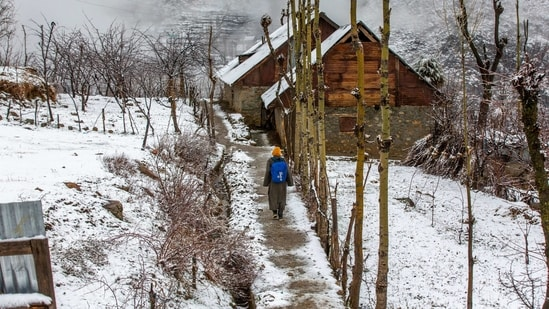 A Kashmiri boy walks homeward after attending private classes, after a brief spell of fresh snowfall in the outskirts of Srinagar on Saturday.(AP)