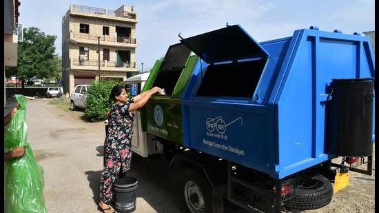 Chandigarh, India, June 04 : new Garbage collection vehicles at Sarangpur village Chandigarh, on Tuesday, June 04, 2019 Photo by Karun Sharma/Hindustan Times