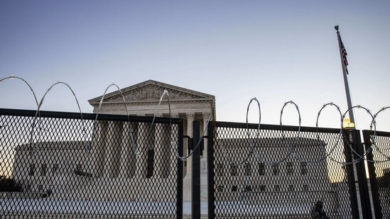 US Supreme Court is seen as National Guard secure the grounds in Washington, DC.(AFP)