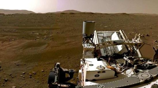 A portion of a panorama taken by Navcams aboard Nasa's Perseverance Mars rover shows the Martian landscape.(NASA/JPL-Caltech/Handout via REUTERS)