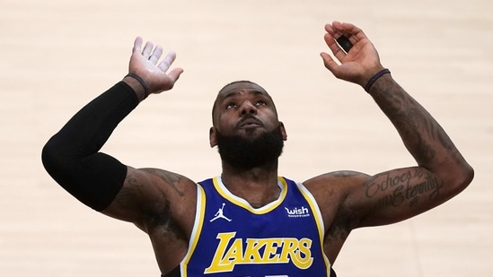 Los Angeles Lakers forward LeBron James (23) gestures in the first half against the Portland Trail Blazers at Staples Center.(USA TODAY Sports)