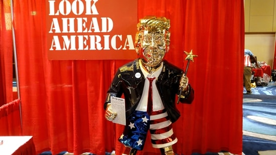 A statue of former US President Donald Trump is pictured at the CPAC in Orlando, Florida.(REUTERS)
