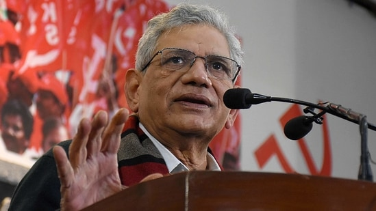 """Sitaram Yechury termed the ongoing political tussle between the TMC and the BJP as a """"mock fight"""". (ANI Photo)"""