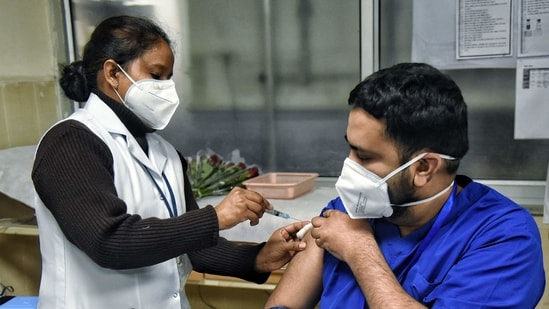 A man gets a dose as Covid-19 vaccine drive starts at LNJP hospital, in New Delhi. (ANI Photo)