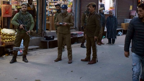 Security personnel launch a Cordon and Search Operation (CASO), in Srinagar on Wednesday. (ANI Photo)