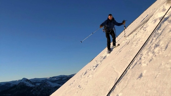 The image shows Zach Milligan on his descent down Half Dome in Yosemite National Park.(AP)