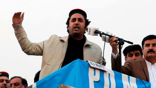 Bilawal Bhutto Zardari, chairman of the Pakistan Peoples Party and son of former Prime Minister of Pakistan Benazir Bhutto, gestures while addressing supporters during a political rally in Peshawar,(AFP)