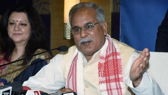 Guwahati: Chhattisgarh Chief Minister and AICC observer for Assam elections Bhupesh Baghel addresses a press conference ahead of the forthcoming Assembly elections in Guwahati district, Wednesday, Feb. 17, 2021. (PTI Photo)(PTI02_17_2021_000242B)(PTI)