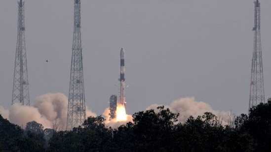 Indian Space Research Organisation (ISRO) launches the Brazilian satellite Amazonia-1 from the Satish Dhawan Space Centre in Sriharikota.(PTI)
