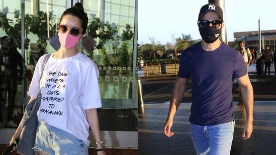 Shraddha Kapoor and Varun Dhawan at the airport.(Varinder Chawla)
