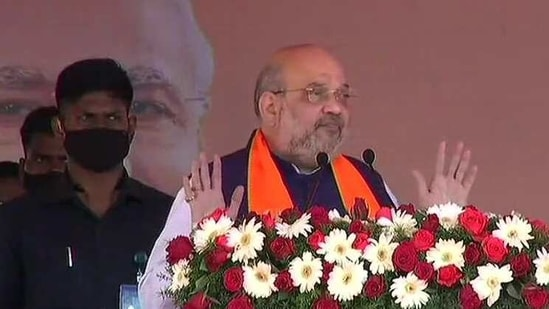 Union home minister Amit Shah addressing a rally in Karaikal on Sunday.(ANI Photo)
