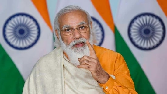 PM Modi addressed the 74th episode of his monthly program Mann Ki Baat., which was broadcast live on various government channels and his YouTube channel.(PTI)