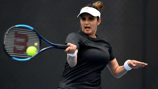 India's Sania Mirza in action at the 2020 Hobart International. (Getty Images)