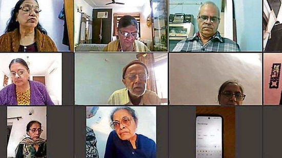 Senior citizens take part in a digital literacy class by Agewell Foundation. (Sourced)