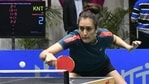 Top seed Manika Batra playing during the 82nd Senior National Table Tennis Championships at Tau Devi Lal Indoor Stadium in Panchkula on Wednesday. (Sant Arora/HT)(HT_PRINT)