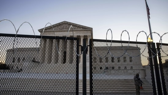 The US Supreme Court is seen as National Guard secure the grounds in Washington, DC. (AFP)