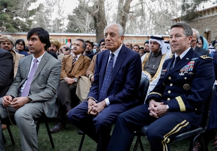US envoy for peace in Afghanistan Zalmay Khalilzad (C) and US Army General Scott Miller, commander of NATO's Resolute Support Mission and United States Forces, Afghanistan, attend Afghanistan's President Ashraf Ghani's inauguration as president, in Kabul, Afghanistan in this file picture from 2020.(Reuters)