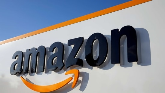 The logo of Amazon is seen at the company logistics centre in Boves, France, (Reuters)