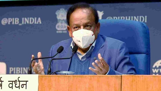 Union minister for health & family welfare, science & technology and earth sciences, Dr. Harsh Vardhan addressing a press conference. (ANI Photo )