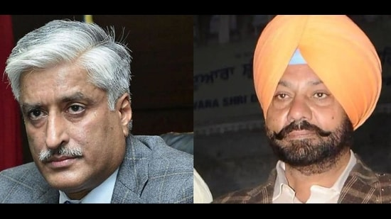Former Punjab DGP Sumedh Singh Saini and (right) suspended inspector general of police Paramraj Singh Umranangal. (HT Photo)