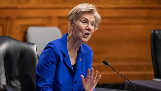 Democratic Senator from Massachusetts Elizabeth Warren directs a question toward Xavier Becerra during the Senate Finance Committee hearing on Becerra's nomination to be secretary of Health and Human Services (HHS), on Capitol Hill in Washington, DC.(AP)