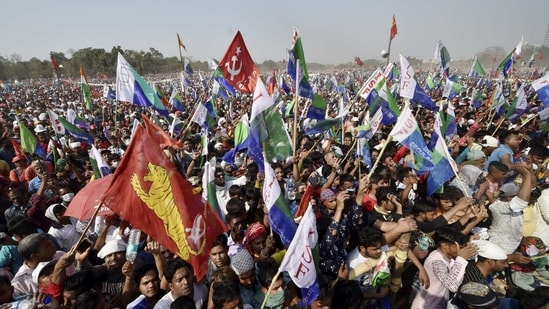 Supporters of Left Front, Congress and Indian Secular Front (ISF) at a joint rally, ahead of West Bengal assembly polls, at Brigade Parade Ground, in Kolkata on Sunday. (PTI)