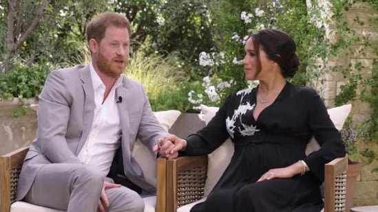 Prince Harry and Meghan Markle in an interview with Oprah,