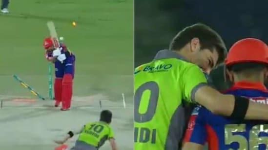 Shaheen Shah Afridi cleans up Babar Azam (L), Afridi hugs Azam (R)(HT Collage)