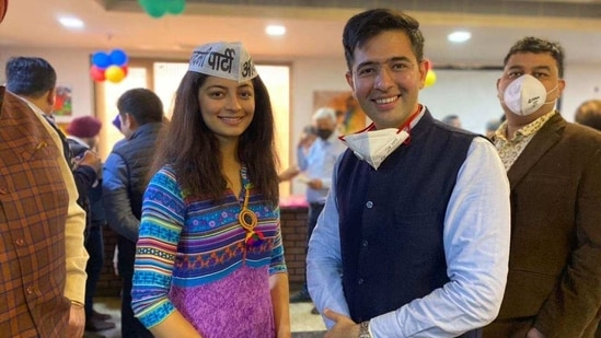 MLA Raghav Chadha inducted the former pageant winner Mansi Sehgal into the party at the Naraina Vihar club