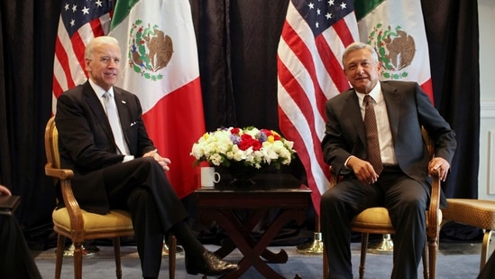 Then-US Vice President Joe Biden, left, poses for photos with then-Mexican presidential candidate Andres Manuel Lopez Obrador in Mexico City,(AP/ File photo)