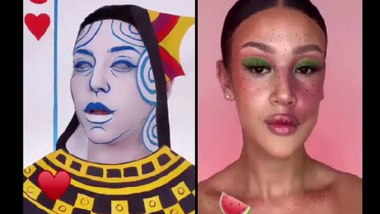 The image shows two different looks created by makeup artists for the emoji makeup challenge.(Instagram)