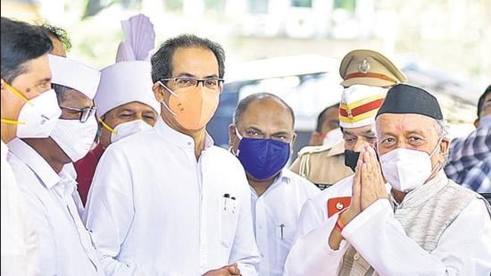 CM Uddhav Thackeray and Governor Bhagat Singh Koshyari arrive at Vidhan Bhavan on Day 1 of budget session on Monday. (Vidyadhar Rane/HT)