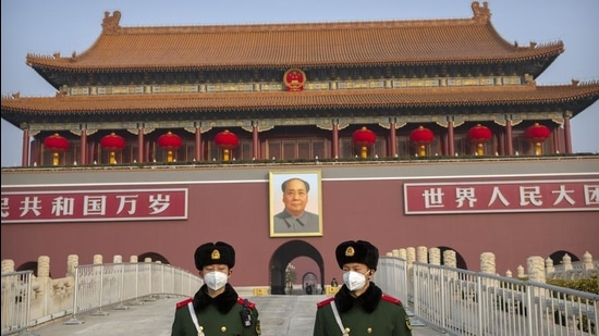 A file photo showing paramilitary police standing guard at Tiananmen Gate adjacent to Tiananmen Square in Beijing, China. (AP)
