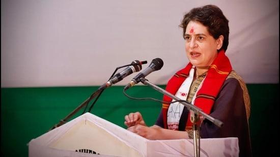 Congress leader Priyanka Gandhi Vadra addresses a gathering at Lakhimpur in Assam on Monday. (HT photo)