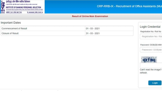 Candidates who had appeared in the IBPS main exam 2021 can check their result on the official website of IBPS at ibps.in.(ibps.in)