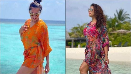 Bipasha Basu jazzes up Maldives in tangerine and floral print georgette kaftans(Instagram/varunbahlpret)