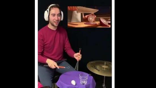 The image shows Josh Harmon playing the drums.(Instagram/@josh_harmon_)