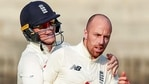 **EDS: TWITTER IMAGE POSTED BY @ECB ON MONDAY, Feb. 8, 2021, ** Chennai: England's bowler Jack Leach celebrates the wicket of India's Rohit Sharma during the 4th day of first cricket test match between India and England, at M.A. Chidambaram Stadium ,in Chennai, Monday, Feb. 8, 2021. (ECB/PTI Photo)(PTI02_08_2021_000239B)(PTI)