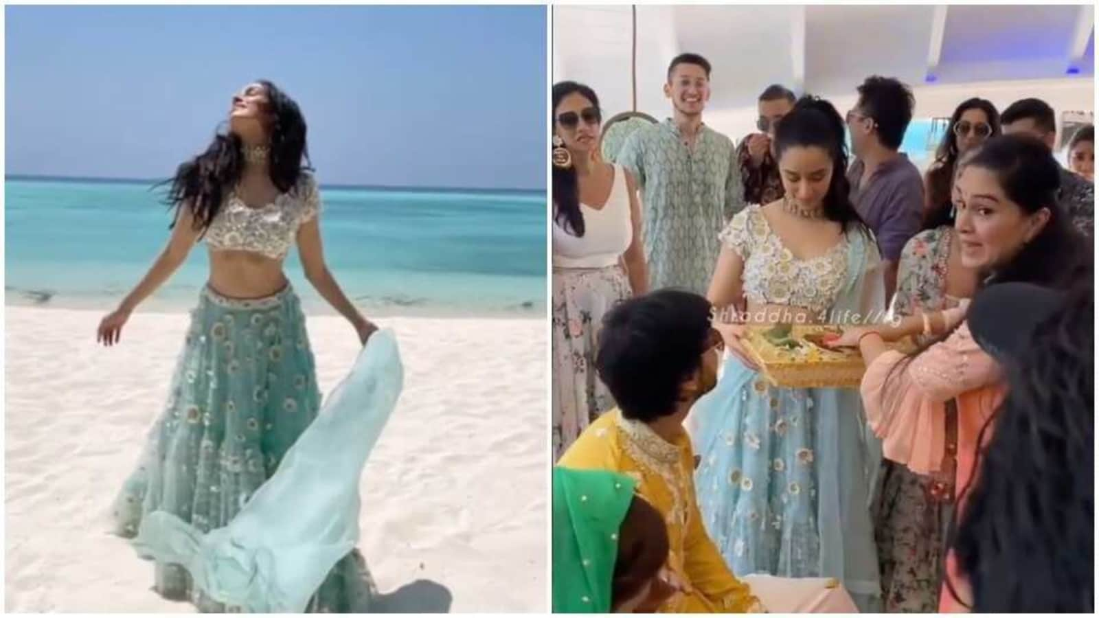 Shraddha Kapoor twins with sea at cousin's wedding in Maldives; aunt Padmini Kolhapure, Rohan Shrestha attend. See pics - Hindustan Times