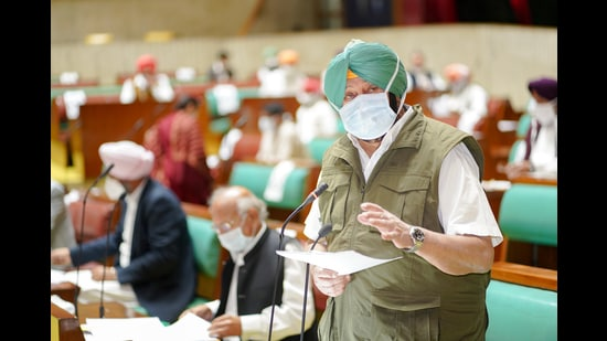 CM Capt Amarinder Singh speaking during the question hour on Tuesday. (HT Photo)