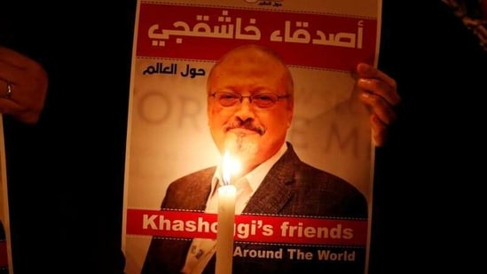 A demonstrator holds a poster with a picture of Saudi journalist Jamal Khashoggi outside the Saudi Arabia consulate in Istanbul, Turkey.(Reuters/ File photo)