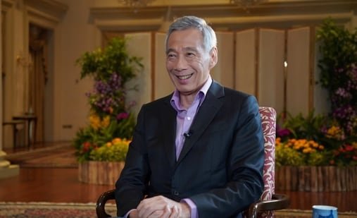 Singapore's Prime Minister Lee Hsien Loong speaks during an interview with BBC on March 2, 2021. (REUTERS )