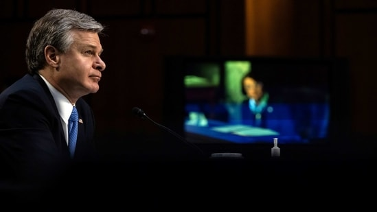 Federal Bureau of Investigation Director Christopher Wray testifies before a Senate Judiciary Committee on the January 6th Insurrection, domestic terrorism and other threats, on Capitol Hill, Washington, US.(REUTERS)